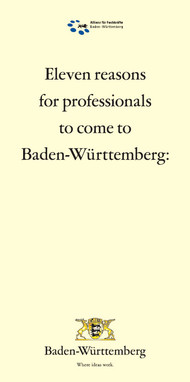 Titel des Faltblatts: 11 reasons for professionals to come to Baden-Württemberg
